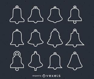 Conjunto de ilustración de campanas de Navidad