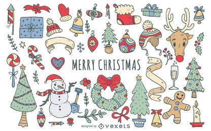 Hand drawn Christmas doodle elements set