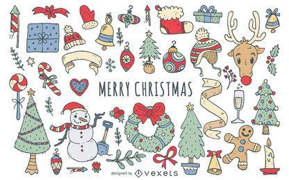 Mão desenhada Natal doodle conjunto de elementos
