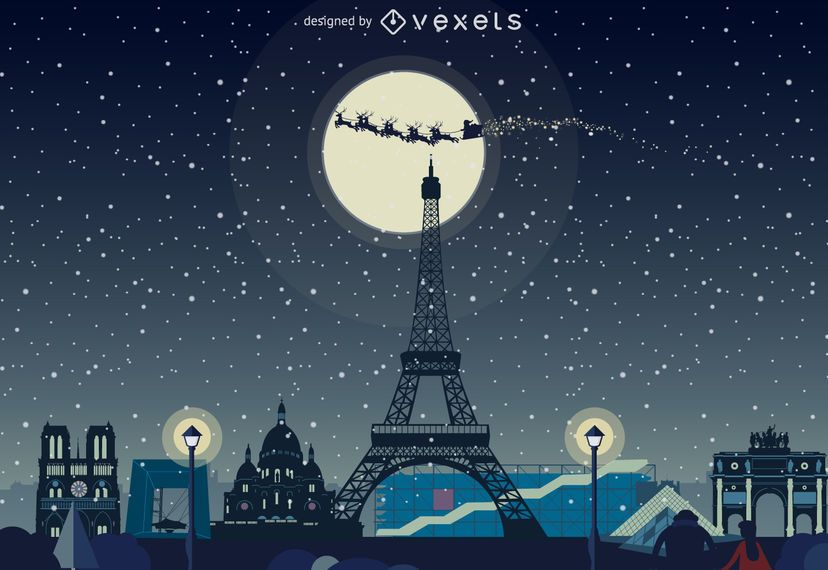 Paris winter Christmas skyline