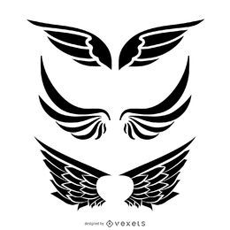 Isolated wing illustration set