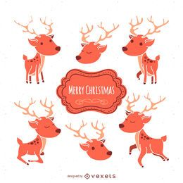 Christmas deer illustration set