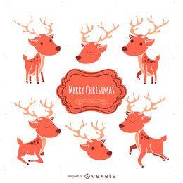 Conjunto de ilustración de ciervos de Navidad