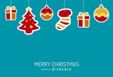 Fondo de Navidad con elementos de trazo