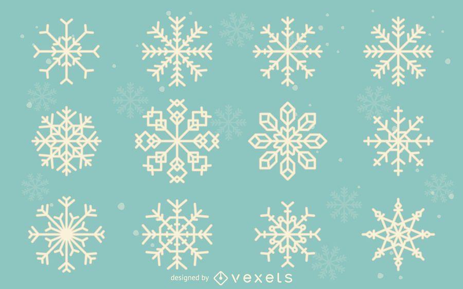 Coleção de ilustração de floco de neve