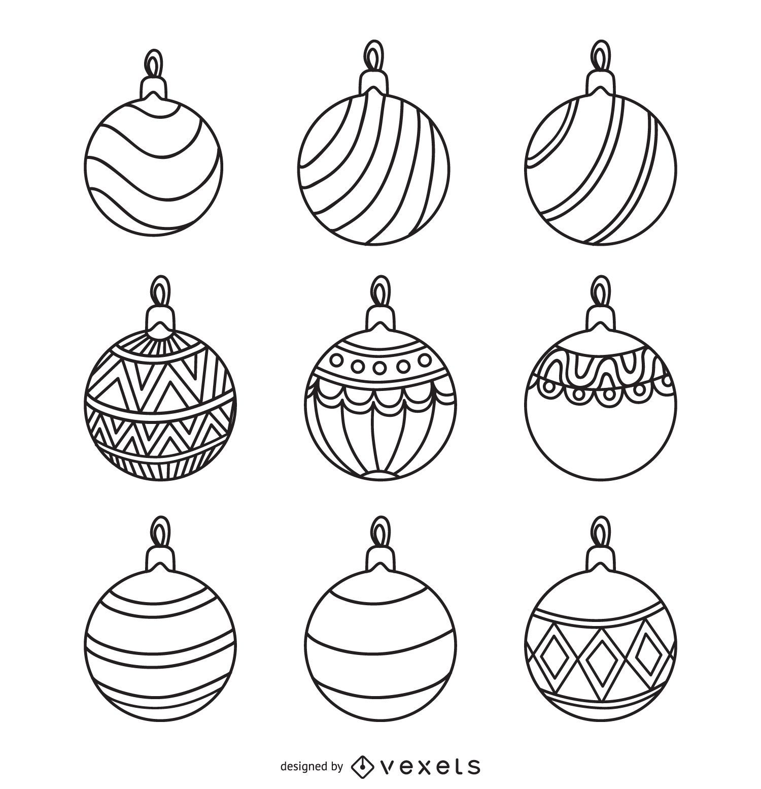 Christmas Round Ornament Outlines Set - Vector Download