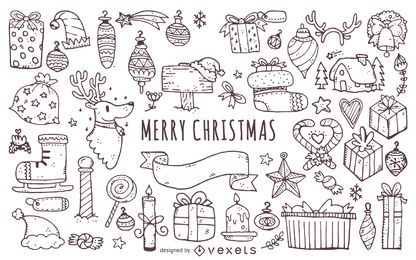 Christmas elements doodles outlines set