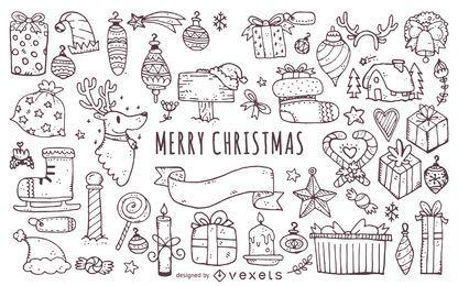 Conjunto de contornos de elementos de Natal doodles