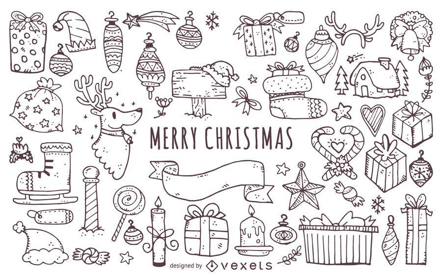 Christmas elements doodles outlines set