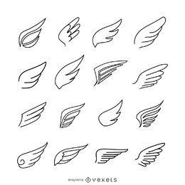 Pacote de modelo de logotipo de ícone de asas