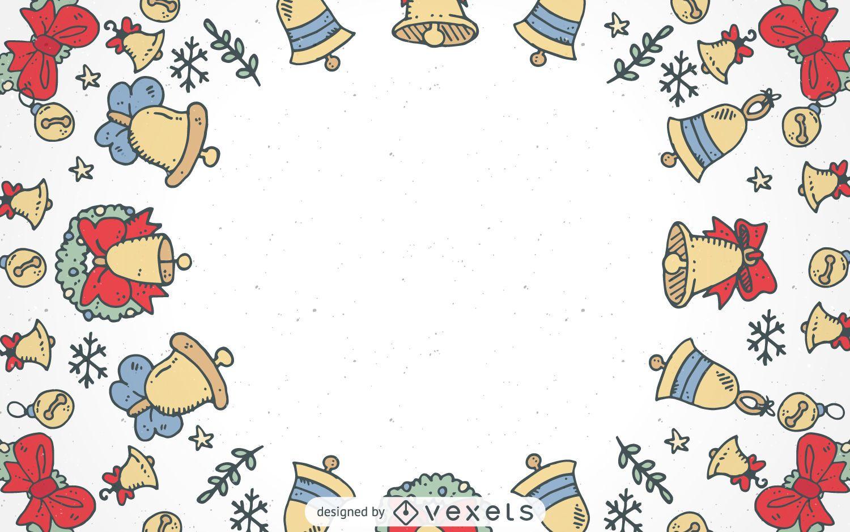 christmas bells frame background vector download