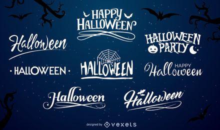 Conjunto de etiqueta de tipografia de Halloween