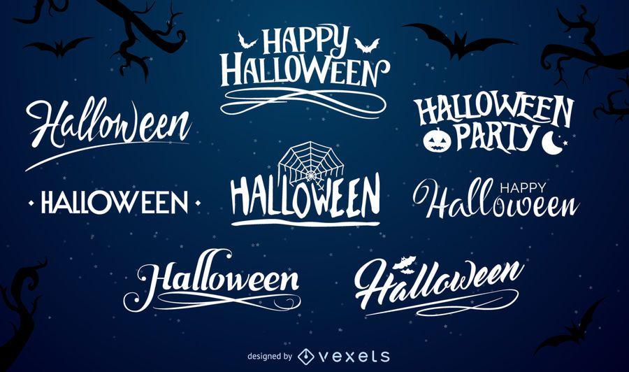 Conjunto de etiquetas de tipografia do Dia das Bruxas