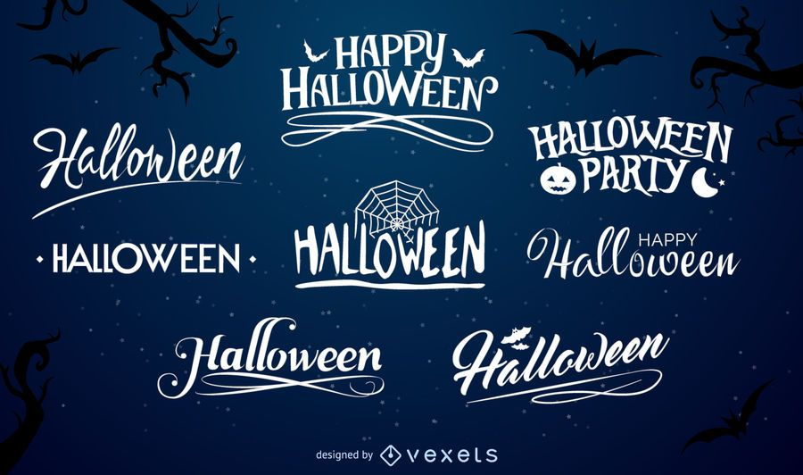 Halloween typography label set