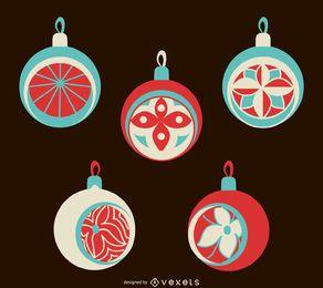 Flat isolated Christmas ornament set