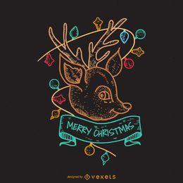 Cartel de ciervo navideño dibujado a mano