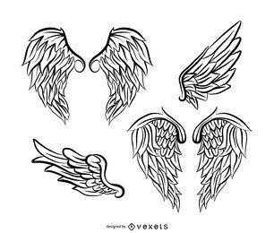 Paquete de ilustración de alas de ángel con plumas