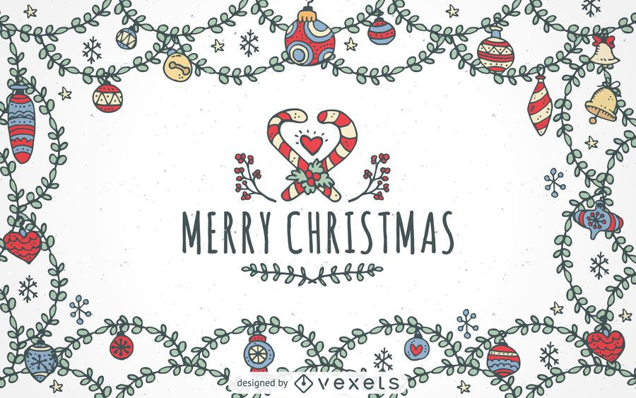 Hand drawn Merry Christmas ornaments background