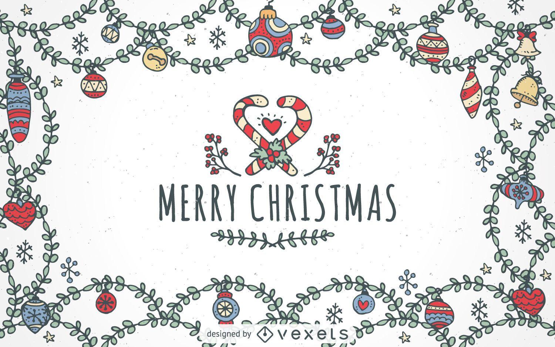Fondo de adornos de feliz Navidad dibujados a mano