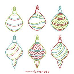 Coloridos ornamentos de Navidad conjunto de contornos