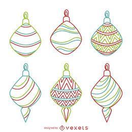 Conjunto de contornos de enfeite de Natal colorido