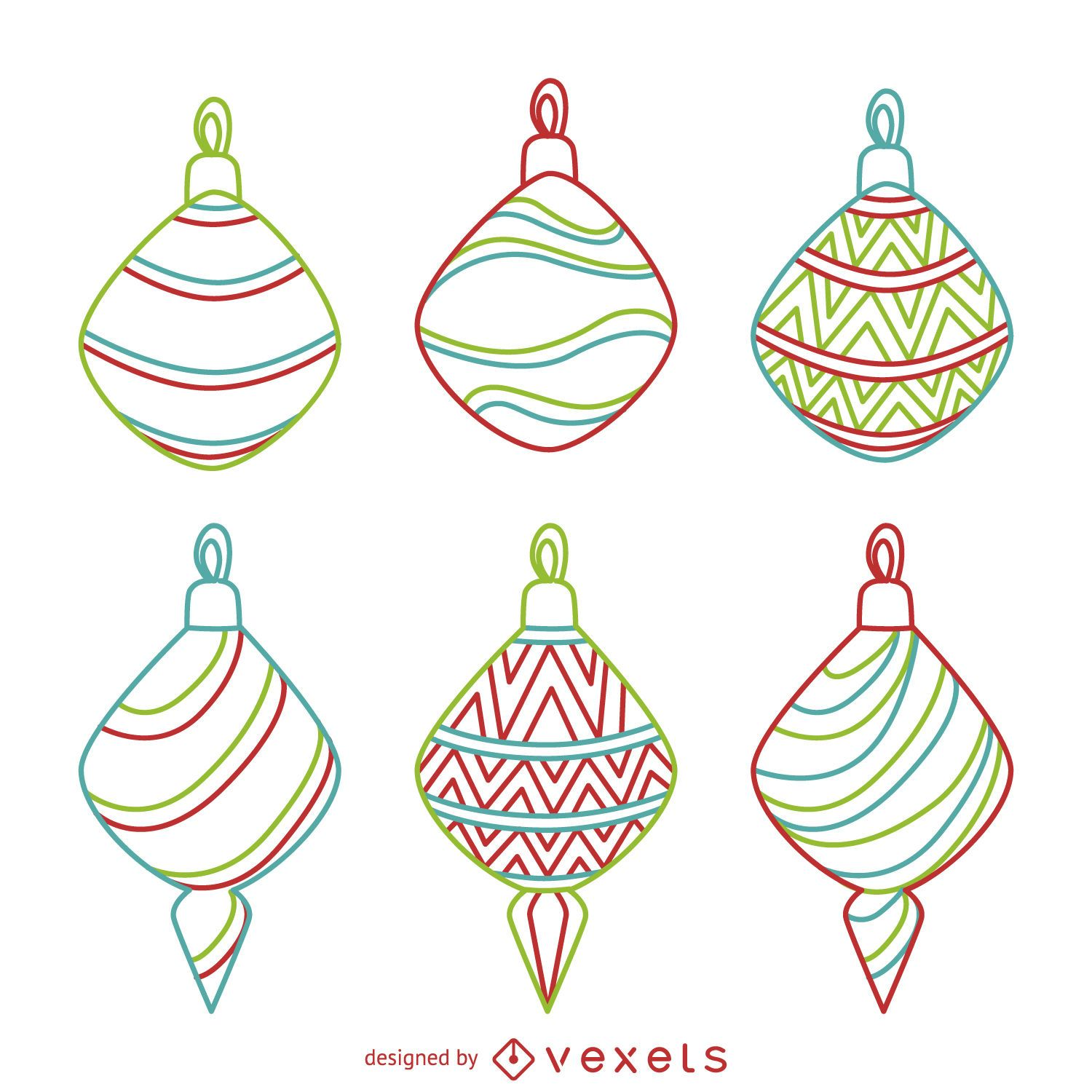 Colorful Christmas ornament outlines set - Vector download