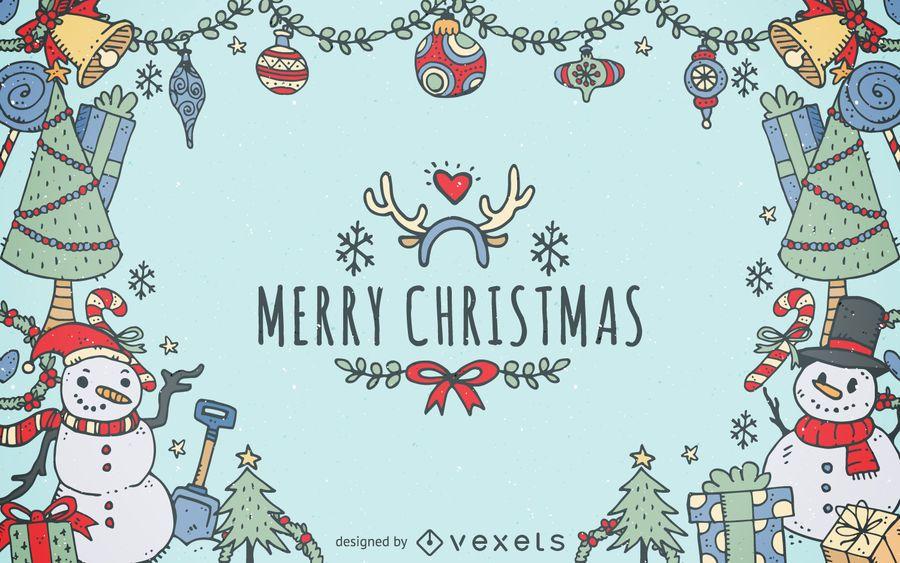 Christmas element doodles background