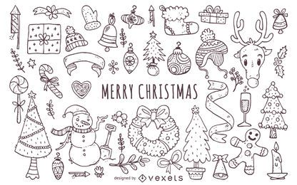 Christmas elements doodles collection