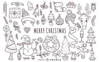Colección de garabatos de elementos navideños