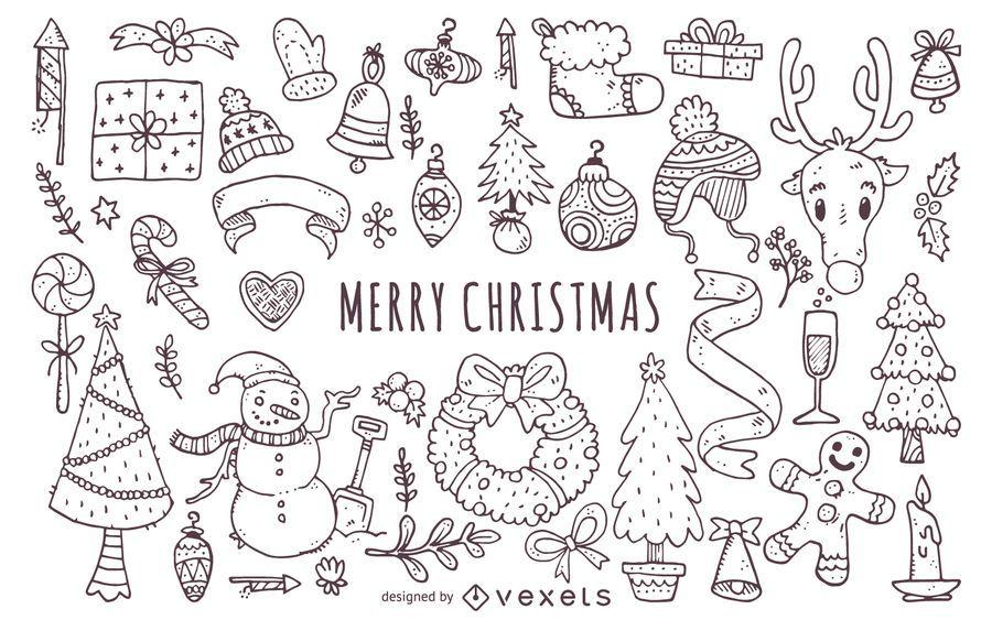 Colección de garabatos de elementos navideños.