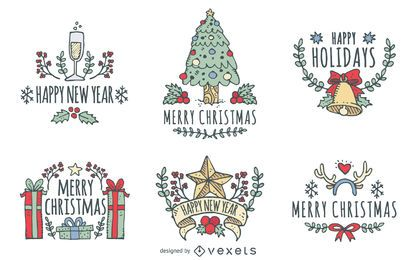 Christmas hand drawn badge set