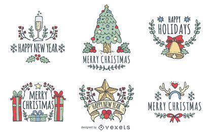 Mão de Natal desenhado conjunto distintivo