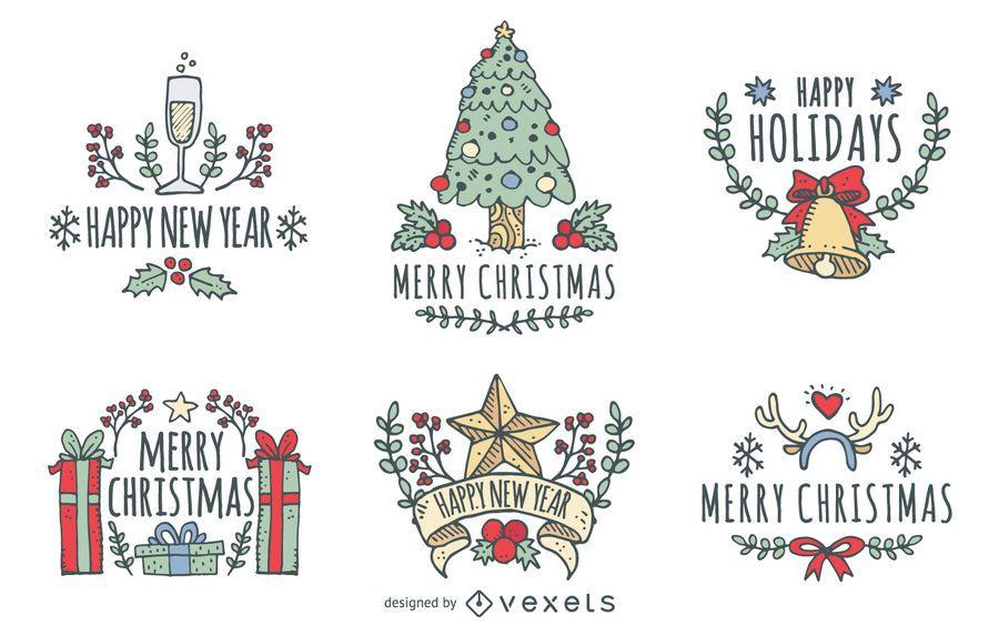 Conjunto de la insignia de Navidad dibujado a mano