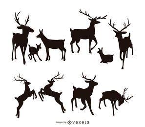 Conjunto de silueta de ciervo