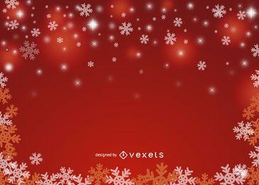 Fondo rojo de copo de nieve de Navidad