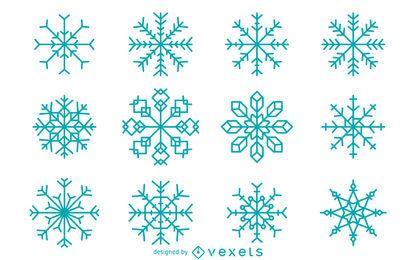 Colección de copos de nieve geométrica