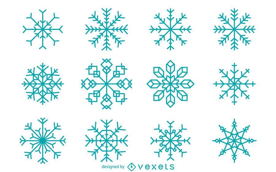 Coleção geométrica de floco de neve