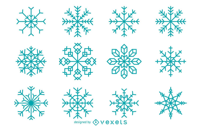 Geometric snowflake collection