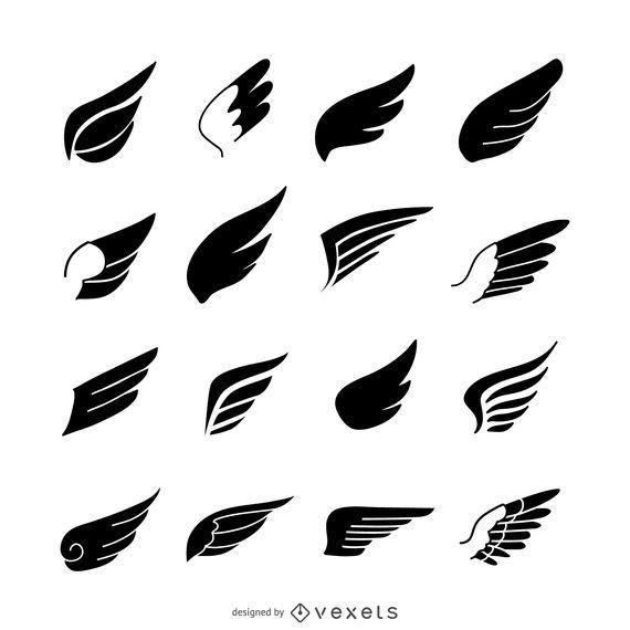 Conjunto de modelo de logotipo de ícone de asas