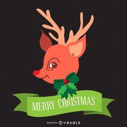 Diseño de ilustración de reno de Navidad