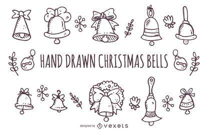 Dibujado a mano campanas de Navidad contornos