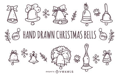 Hand drawn Christmas bells outlines