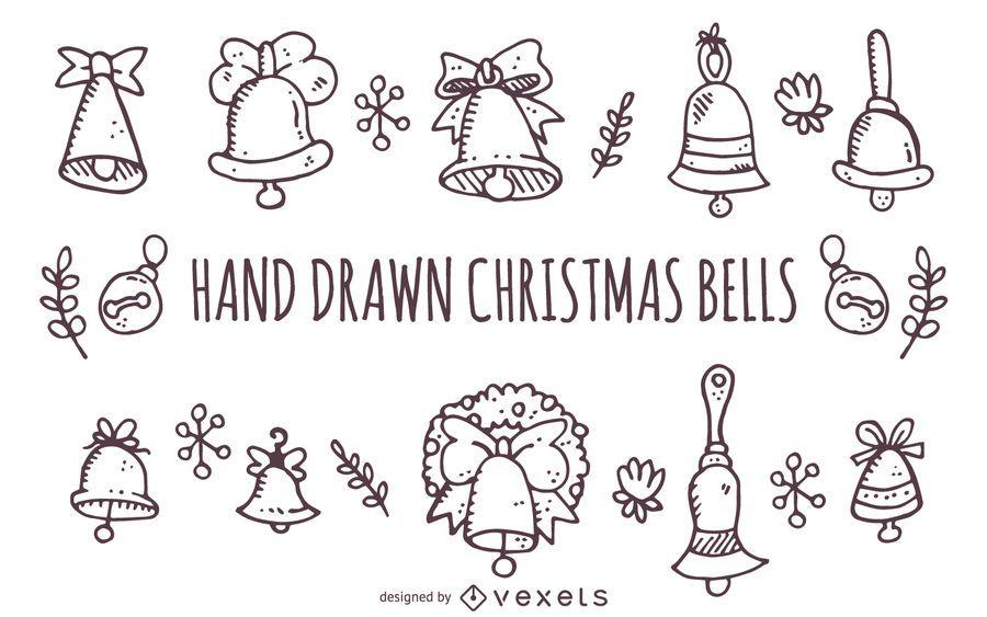 Contornos de sinos de Natal de mão desenhada