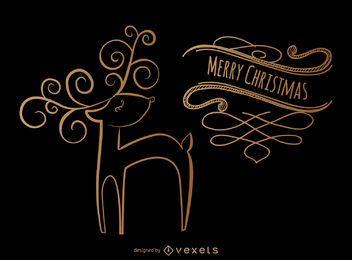 Ciervos navideños diseño de remolinos.