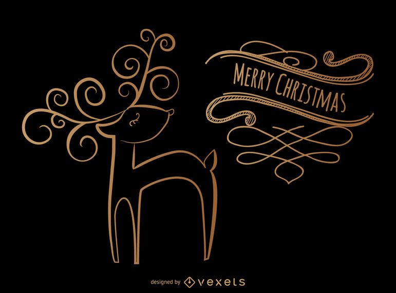 Christmas deer swirls design