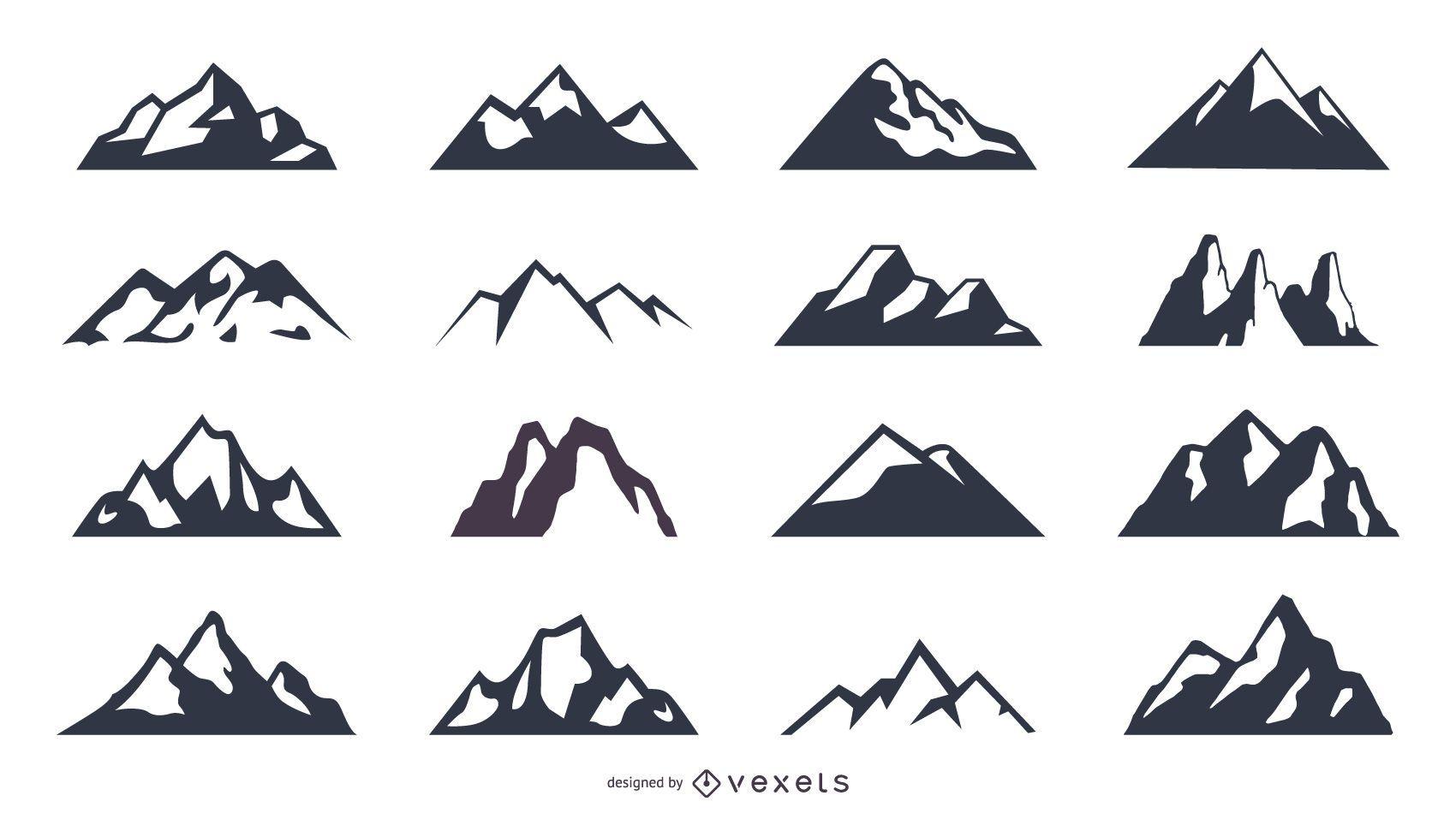 Conjunto de iconos de silueta de montaña