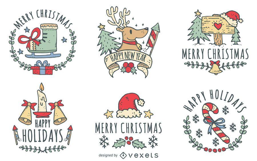 Christmas doodles label set