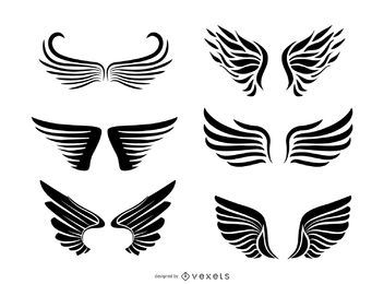 Isolated wing illustration collection