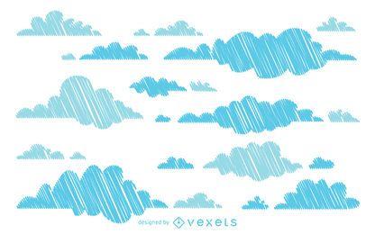 Fondo de nubes dibujadas a mano