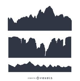 Conjunto de montaña silueta